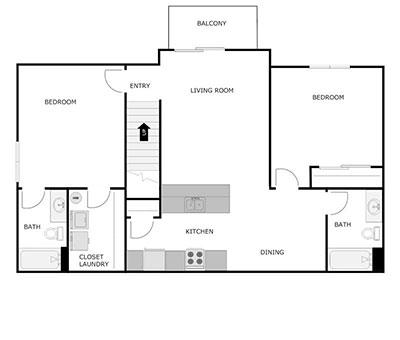 2 bed, 2 bath floor plan